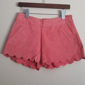 coral pink suede scallop edge shorts